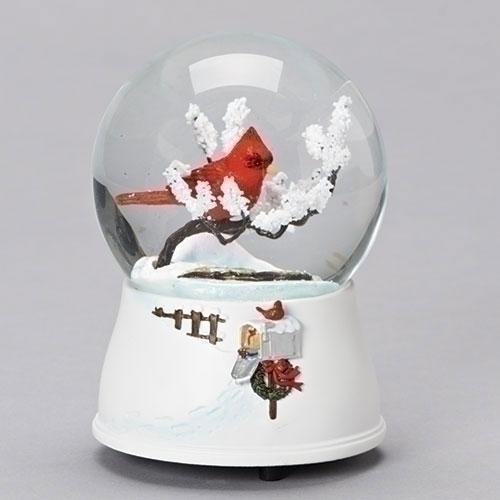 Musical Cardinal on Branch Glitter Dome