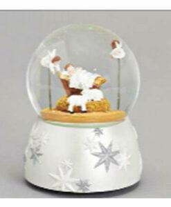 Musical Cherubs & Nativity Scene Glitter Dome