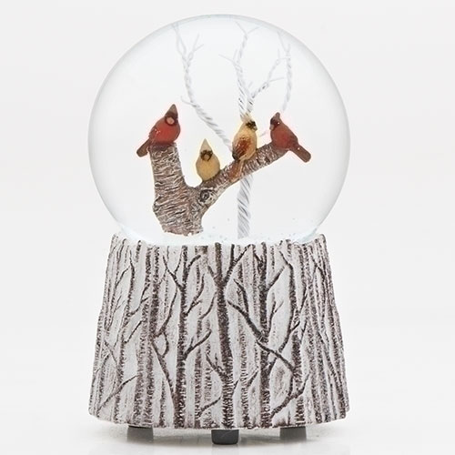 Musical Cardinals on Branch Glitter Dome