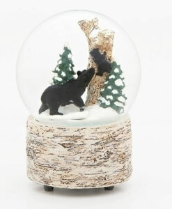 Musical Black Bear Glitter Dome