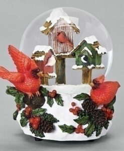 Musical Birds in Birdhouses Glitter Dome