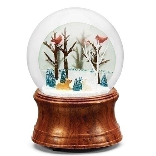 Musical Winter Animal Scene Glitter Dome