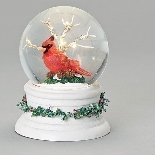 Lighted Cardinal in Tree Glitter Dome