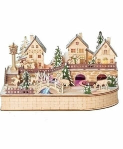 Musical Lighted Village with Rotating Train