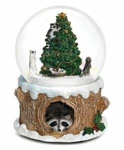 Musical Raccoon in Tree Glitter Dome