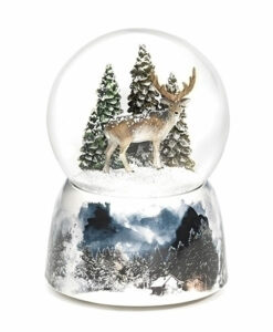 Musical Deer with Trees Glitter Dome