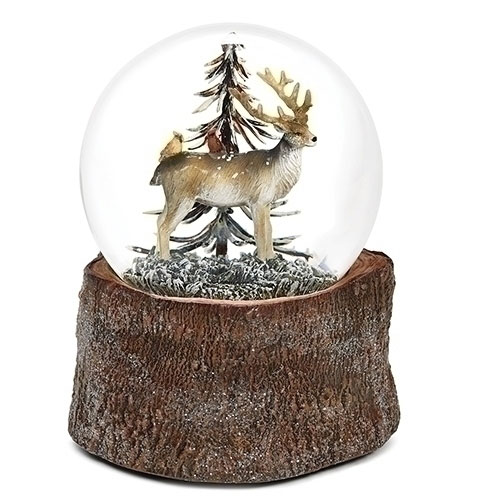 Musical Deer with Cardinals Glitter Dome