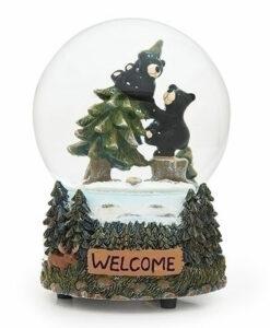 Musical Black Bear Glitter Dome
