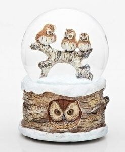 Musical Owls on Branch Glitter Dome