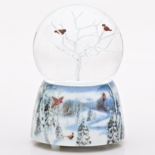 Musical Cardinals in Tree Glitter Dome