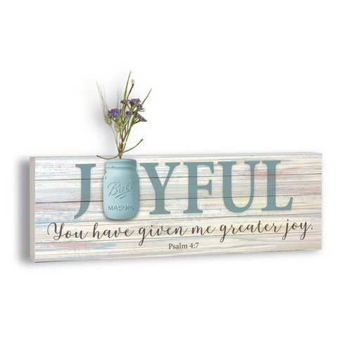 Mason Jar Word Box Plaque | Joyful