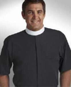 Banded Collar Clergy Shirt Short Sleeve Black