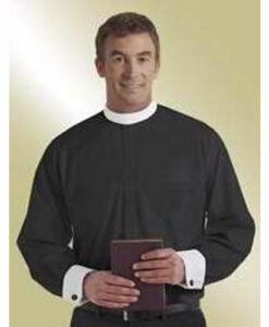 Banded Collar & French Cuff Clergy Shirt Long Sleeve Black