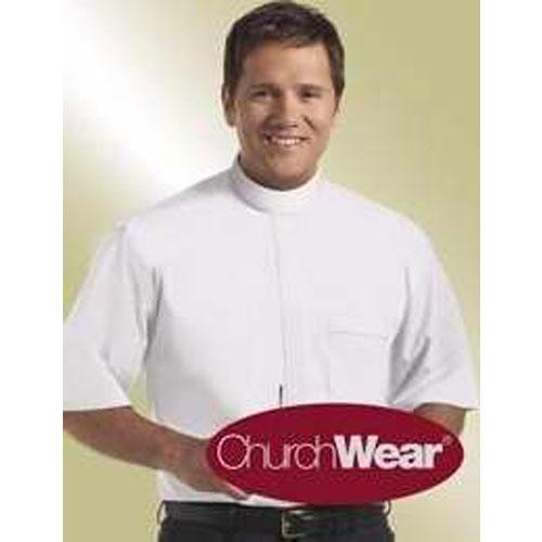 Banded Collar Clergy Shirt Short Sleeve White