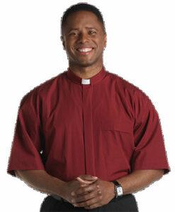 Tab Collar Clergy Shirt Short Sleeve Burgundy