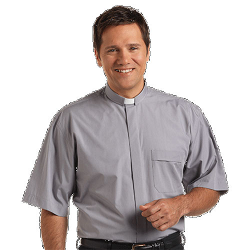 Tab Collar Clergy Shirt Short Sleeve Grey