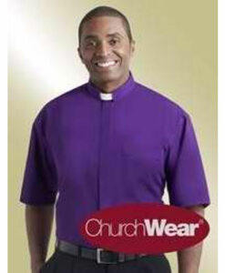 Tab Collar Clergy Shirt Short Sleeve Purple
