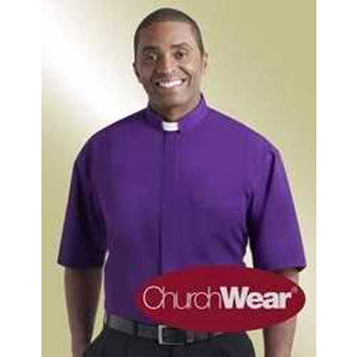 Tab Collar Clergy Shirt Short Sleeve Purple