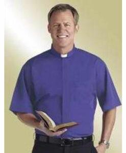 Tab Collar Clergy Shirt Short Sleeve Royal Blue