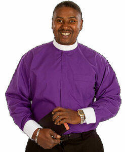 Banded Collar & French Cuff Clergy Shirt Long Sleeve Purple
