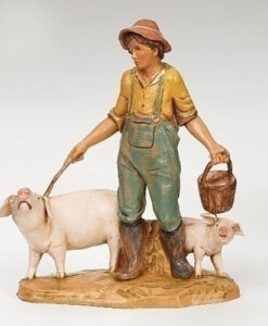 "Jedediah Pig Keeper Village Figure for Fontanini® 5"" Nativity Collection"