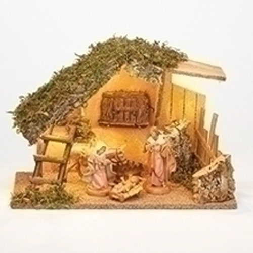 "4 Piece Nativity Set with LED Italian Stable for Fontanini® 5"" Nativity Collection"
